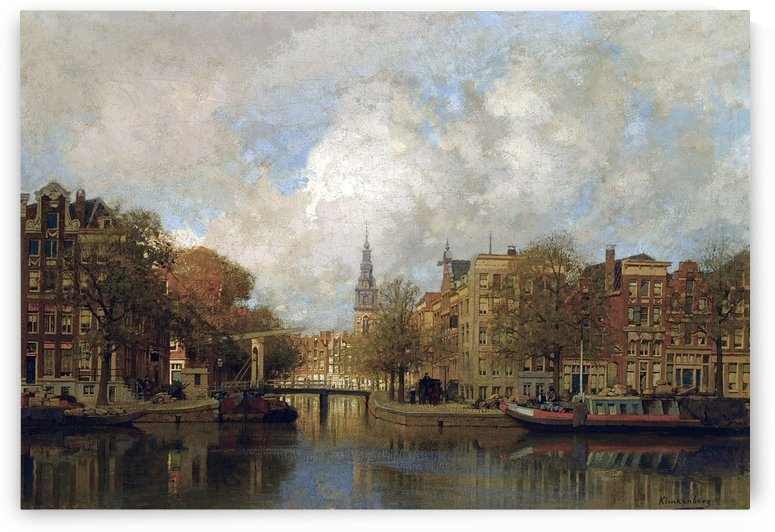 A View of the Groenburgwal with the Zuiderkerk, seen from the River Amstel, Amsterdam by Johannes Klinkenberg
