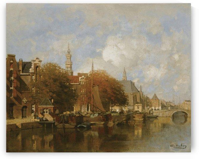 A capriccio view of the Oudezijds Voorburgwal, Amsterdam by Johannes Klinkenberg
