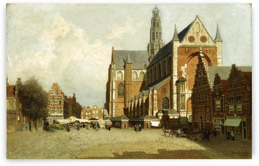 Market in Amsterdam near Saint Bavo Church by Johannes Klinkenberg