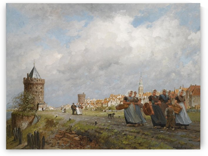 Arnemuiden Fisherwomen returning from the Market in Vlissingen by Johannes Klinkenberg