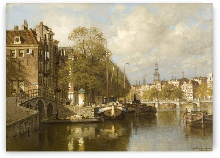 A View on the Amstel, with the Blauwbrug and the Zuiderkerk, Amsterdam by Johannes Klinkenberg
