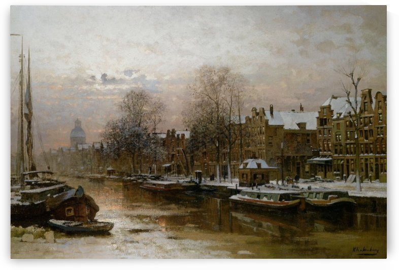 Snow covered barges by Johannes Klinkenberg