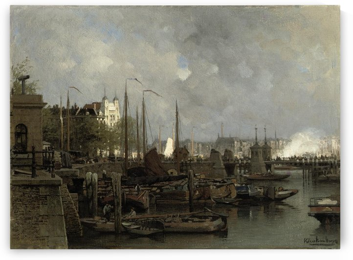 Oude haven with the Koningsbrug by Johannes Klinkenberg