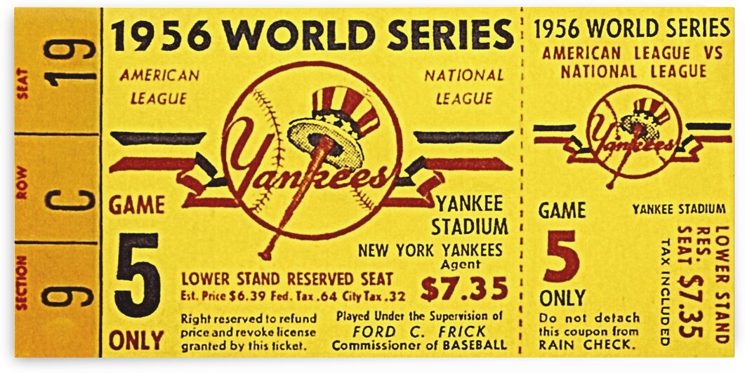 1956 World Series Perfect Game Ticket Stub Art by Row One Brand
