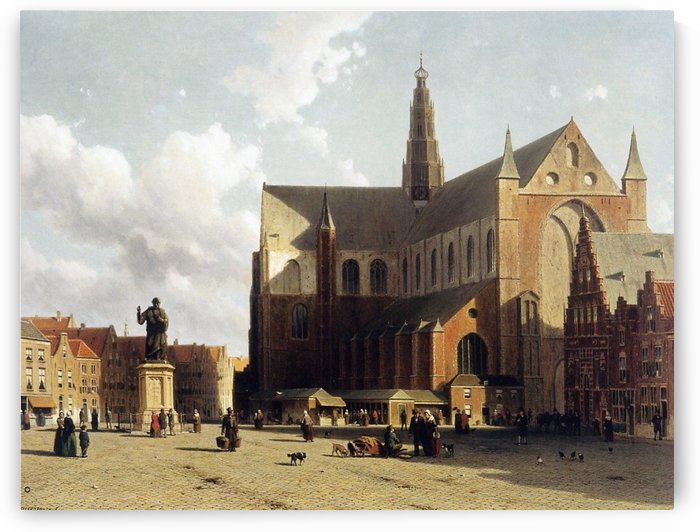 View of the Grote Markt, Haarlem, with numerous townsfolk strolling along the statue of Laurens Jansz by Johannes Klinkenberg