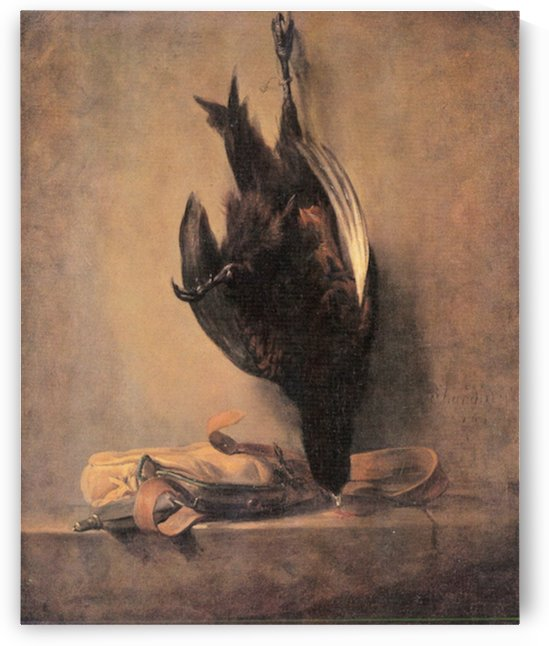 Still Life with Dead Pheasant and Hunting bag by Jean Chardin by Jean Chardin