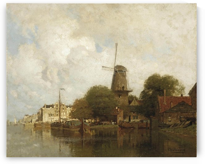 A windmill along the river Amstel, Amsterdam by Johannes Klinkenberg