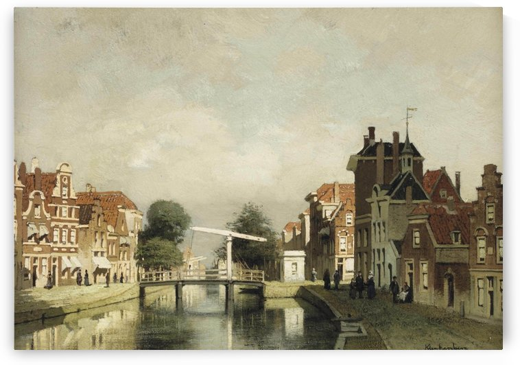 A sunlit canal with a draw-bridge by Johannes Klinkenberg