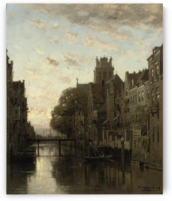 A View of the Voorstraathaven with the Grote Kerk Beyond, Dordrecht by Johannes Klinkenberg