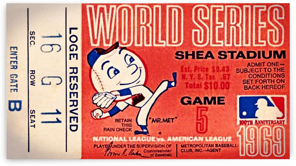1969 New York Mets Game 5 Ticket Art by Row One Brand
