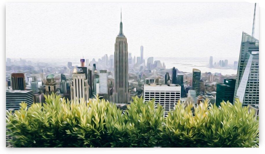 Green leaves on the background of New York skyscrapers. by Ievgeniia Bidiuk