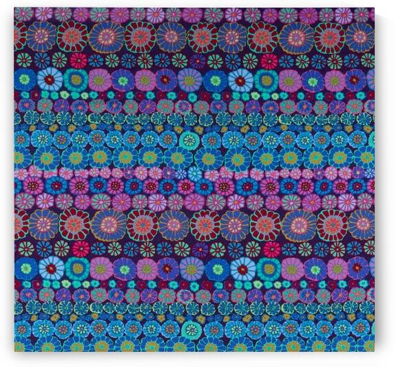Kaffe Fassett Collective Row Flowers Blue by Mutlu Topuz