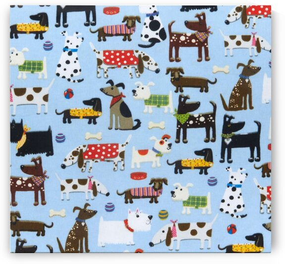 Comfy Flannel Print Assorted Dogs Blue by Mutlu Topuz