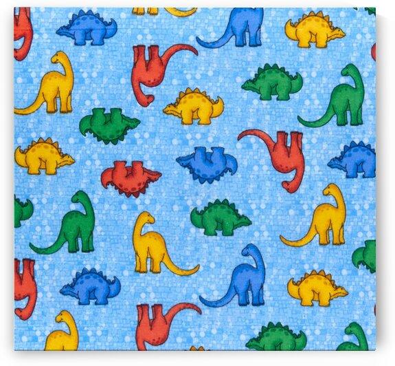 Comfy R Flannel Print Multicolored Dinosaurs by Mutlu Topuz