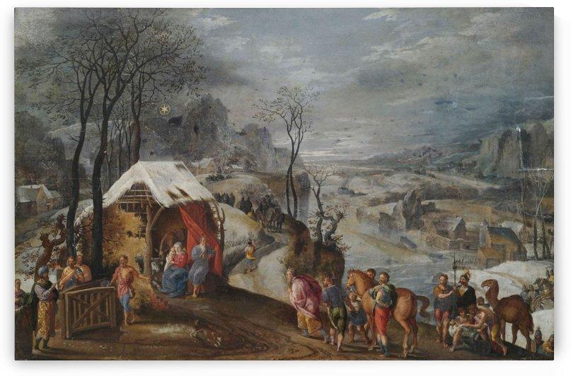 Ankunft der Heiligen Drei Konige am Stal by Gillis Mostaert
