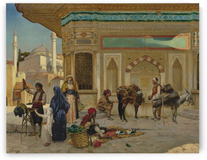 The fountain of Ahmed III, Istanbul by Rudolf Ernst