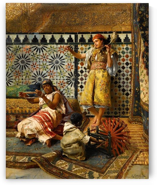 Spinning yarn in the Harem by Rudolf Ernst
