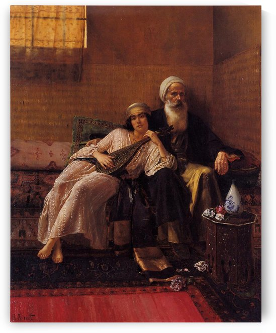 Arab woman with musical instrument by Rudolf Ernst