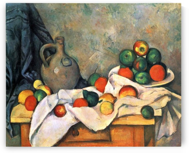 Still life, drapery, pitcher and fruit bowl by Cezanne by Cezanne