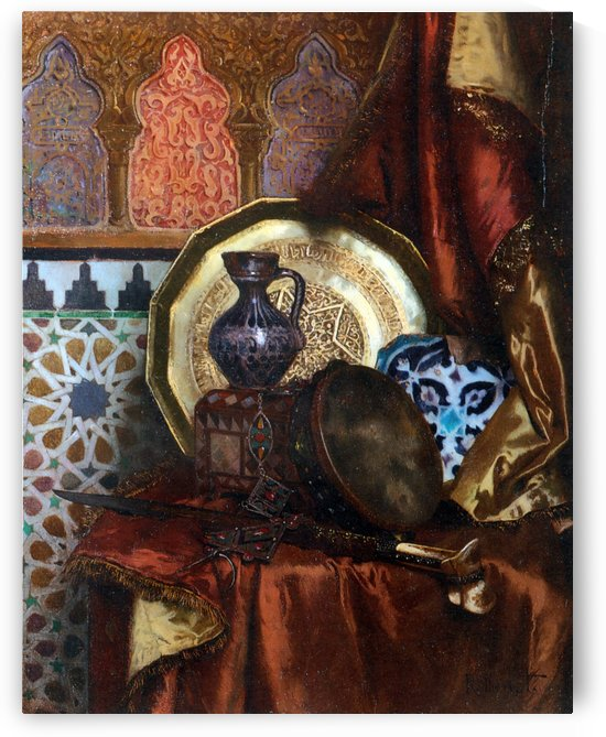 A Tambourine, Knife, Moroccan Tile and Plate on Satin covered Table by Rudolf Ernst
