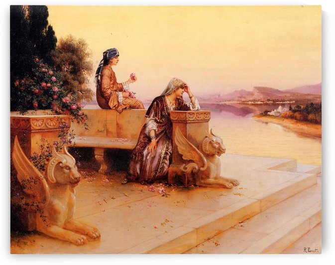 Elegant Arab Ladies on a Terrace at Sunset by Rudolf Ernst