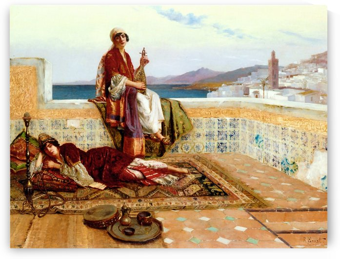 Young ladies on a terrace in Tangiers by Rudolf Ernst