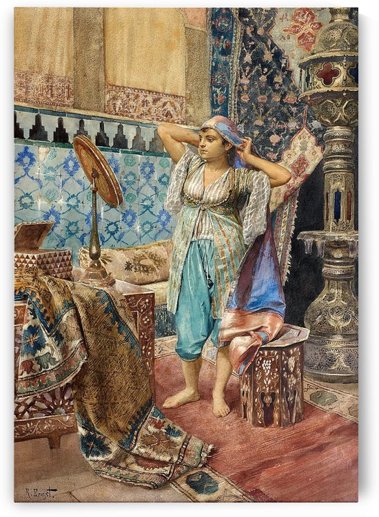 Arab woman admiring in the mirror by Rudolf Ernst
