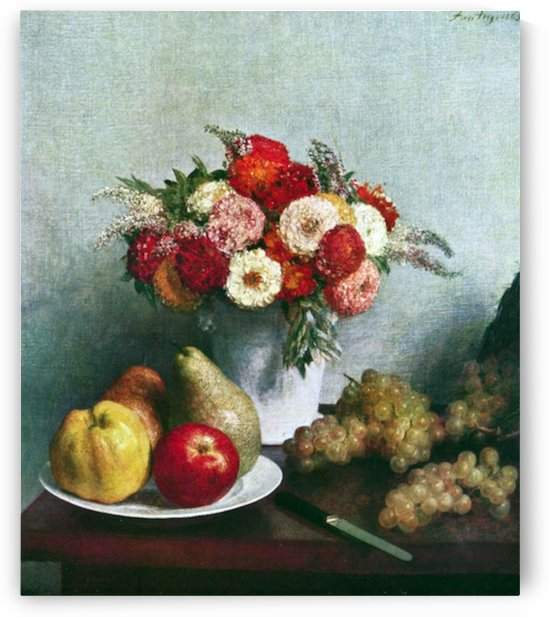 Still-life with flowers and fruit by  Fantin-Latour by Fantin-Latour