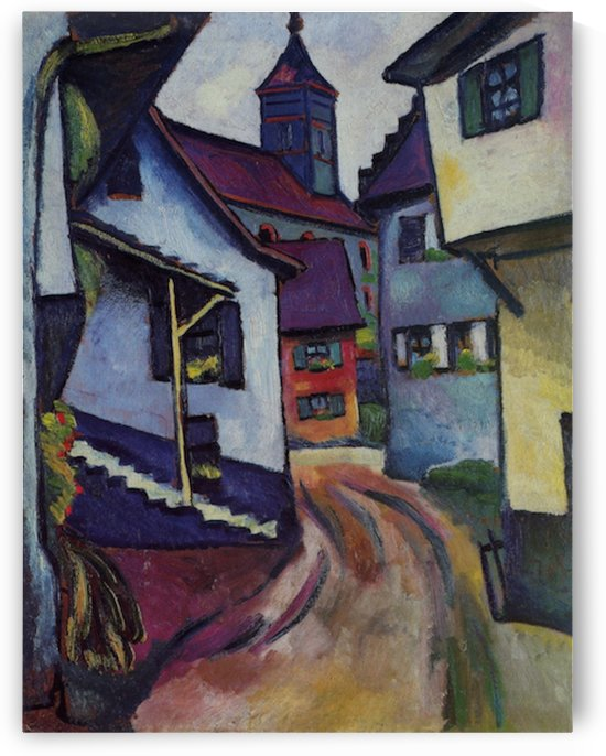 Street with a church in Kandern by Macke by Macke
