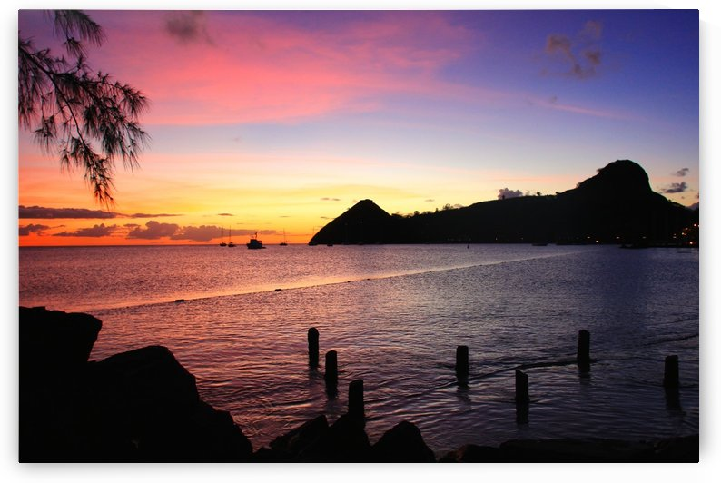 Sunset looking at Pigeon Island by Joanna Devaux Guillaume