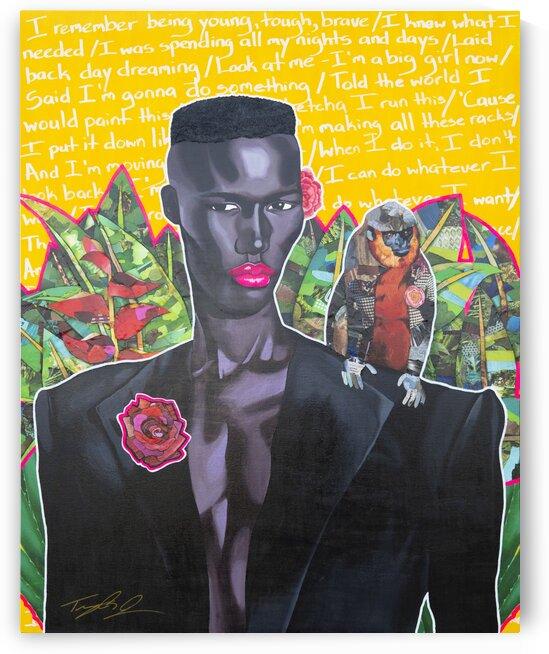 Lady Grace Jones nod to Frida Kahlo by Artist Jones