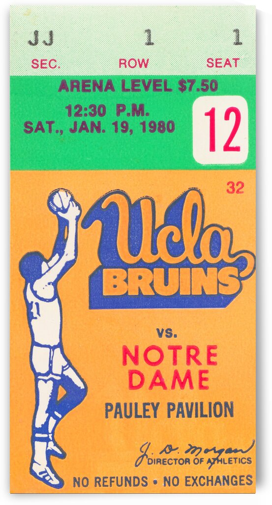 1980 UCLA Bruins Basketball Ticket Stub  Art by Row One Brand