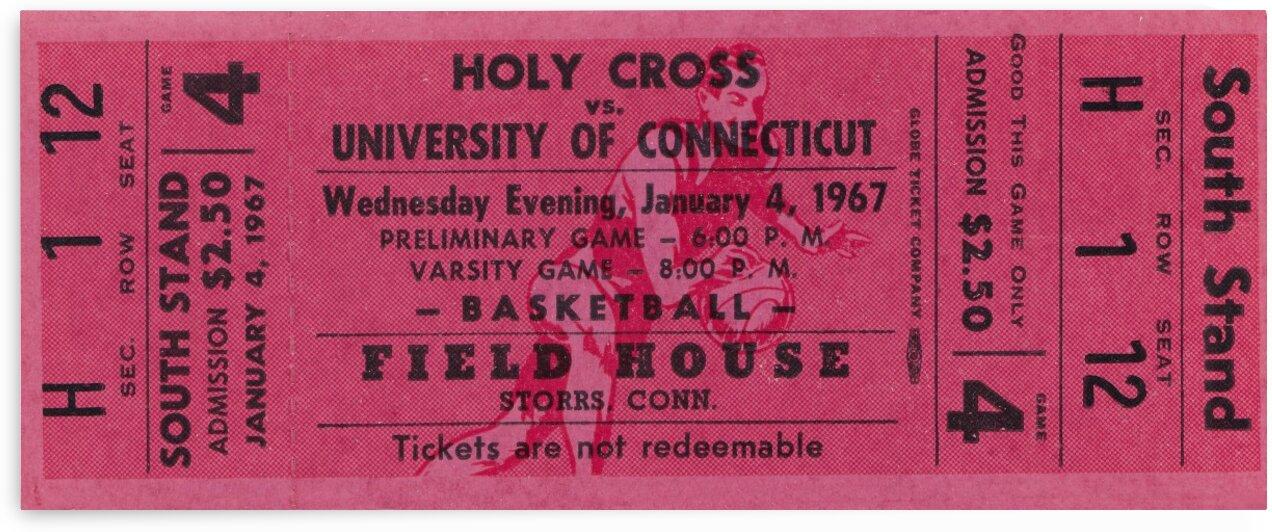 1967 UConn Huskies Basketball Ticket Art by Row One Brand