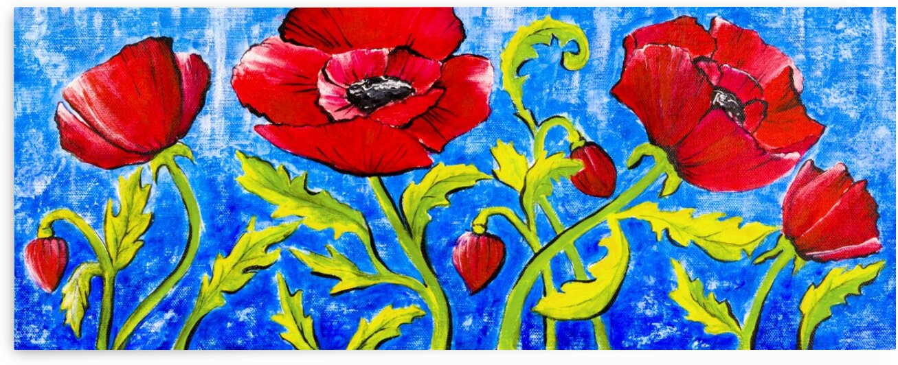 Poppies on Blue by Tracey Bayer