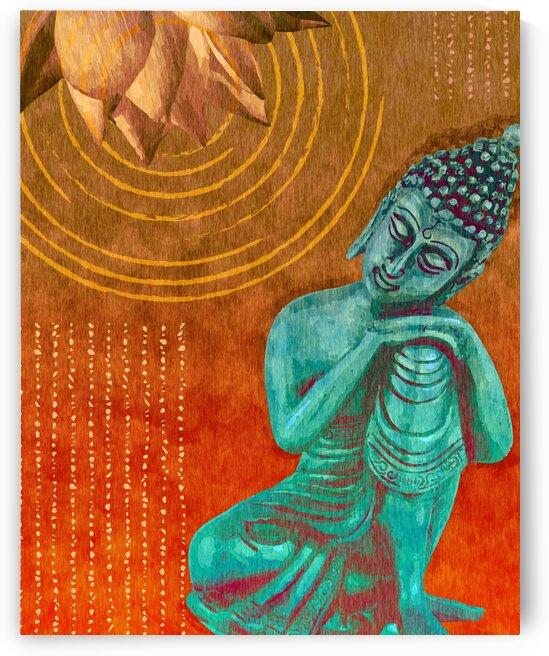 Leaning Buddha - Reclining Buddha - Orange  by Studio Grafiikka