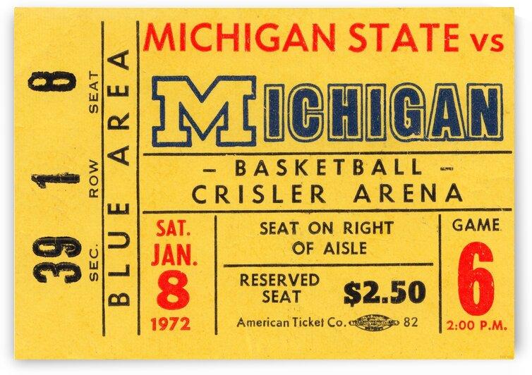 1972 University of Michigan Basketball Ticket Stub Art by Row One Brand