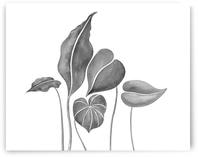 Tropical Leaves Simple Gray Botanical Foliage Watercolor  by Irina Sztukowski