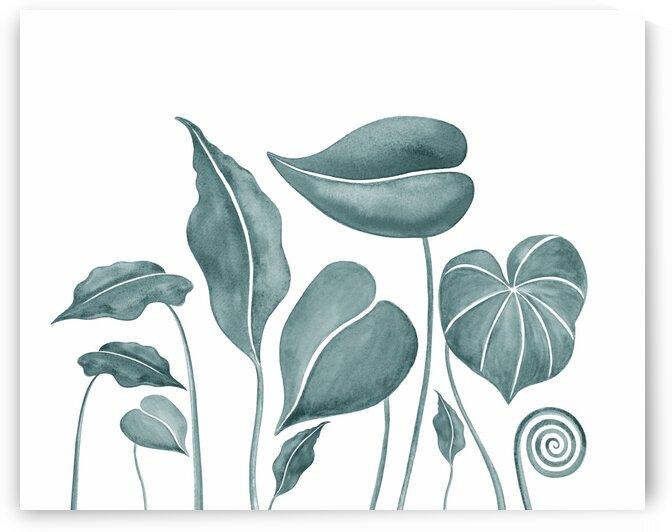 Tropical Leaves Teal Gray Botanical Foliage Watercolor  by Irina Sztukowski