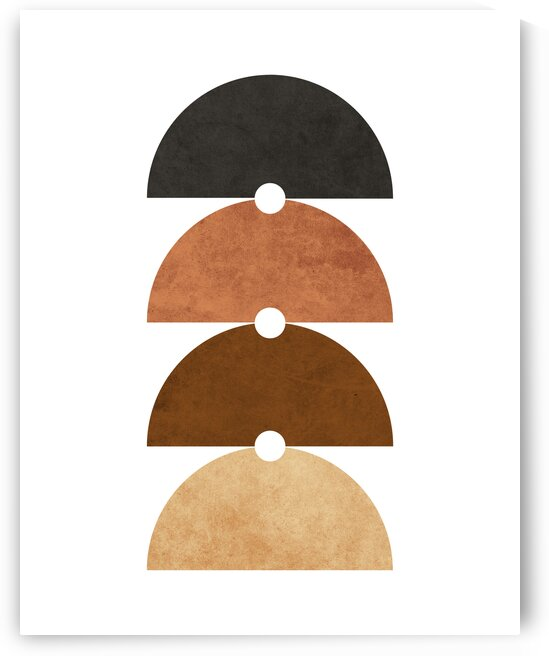 The Quartet - Minimal Geometric Scandinavian Abstract - Brown by Cosmic Soup
