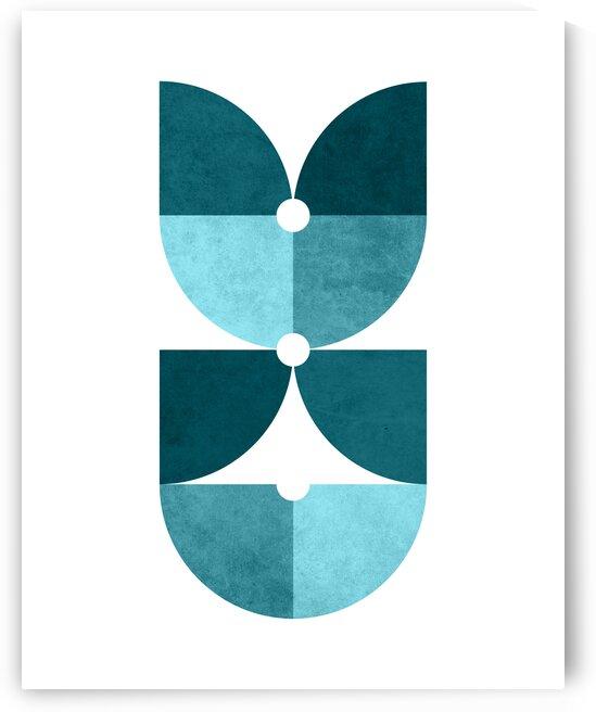 Quarter Circle Pattern 1 - Minimal Geometric Scandinavian Abstract - Blue by Cosmic Soup