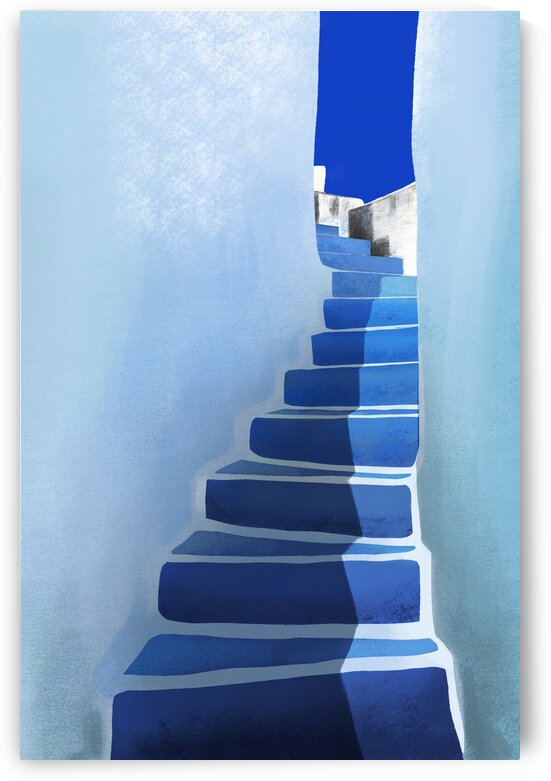 Blue Stairs - Santorini  Greece by Cosmic Soup