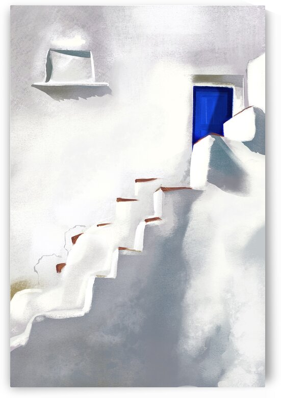 Ragged steps to the blue door - Santorini  Greece by Cosmic Soup