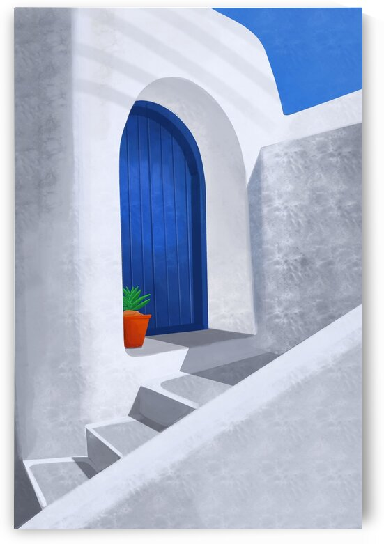 The little blue door - Santorini  Greece by Cosmic Soup
