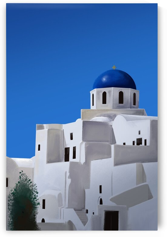 The Blue Dome Church of Oia - Santorini - Greece by Cosmic Soup