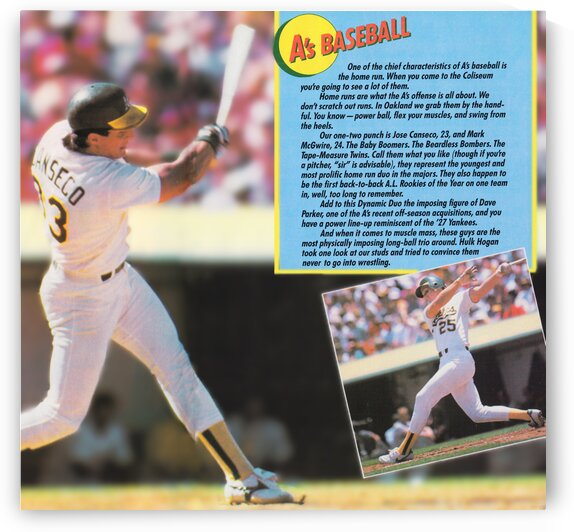 1988 Jose Canseco Oakland As Poster by Row One Brand