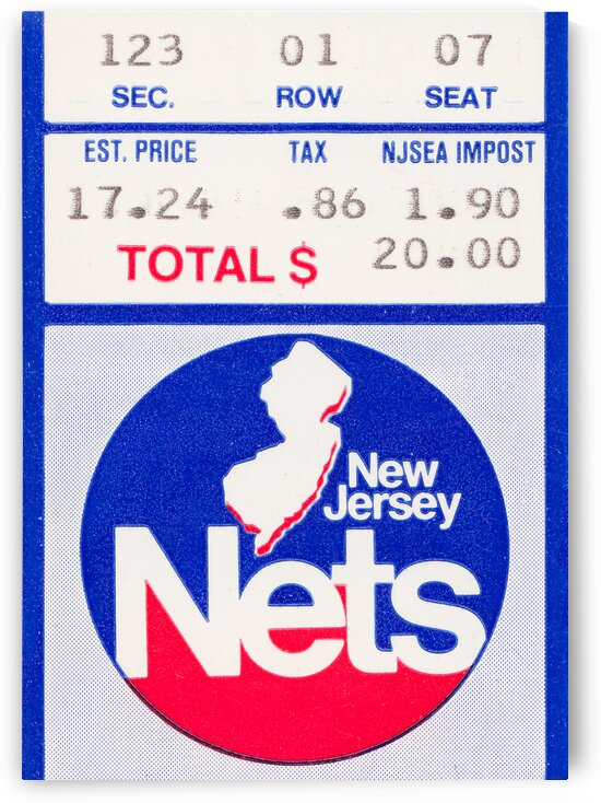 1982 New Jersey Nets Ticket Stub Art by Row One Brand
