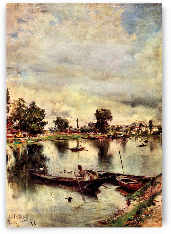 River landscape by Giovanni Boldini by Giovanni Boldini