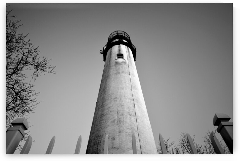 Fenwick Island Lightouse and Sky in Black and White by Ocean City Art Gallery