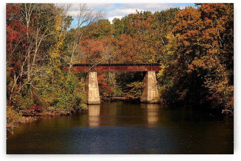 Tuckahoe River Railroad Bridge in Fall by Ocean City Art Gallery