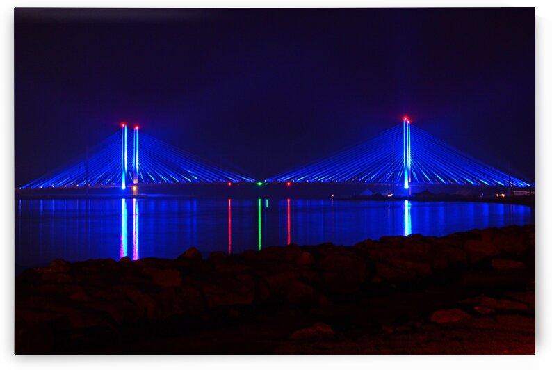 Indian River Inlet Bridge After Dark by Ocean City Art Gallery
